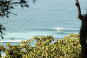 The view from the up in the hill jungle cabin looking out to PanTai surf break.