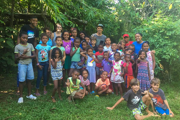A group of students at up in the hill eco lodge in Panama