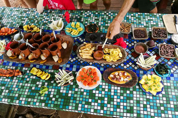 Chocolate Farm Tour at Up in the Hill Eco Lodge in Panama has a delicious spread of fresh fruits and treats to try after the tour.