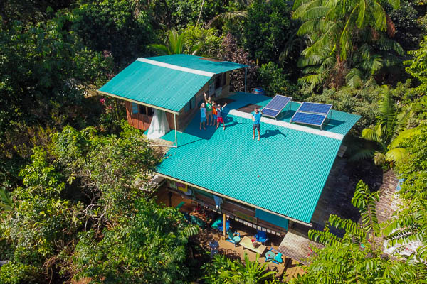 Drone image of up in the hill eco lodge on Isla Bastimentos in Bocas del Toro Panama.