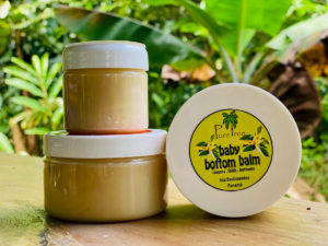 Baby bottom balm from pure tree natural body products by Up in the Hill Chocolate farm and Eco Lodge in Bocas del Toro, Panama.