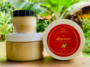Aftersun cream from pure tree natural body products by Up in the Hill Chocolate farm and Eco Lodge in Bocas del Toro, Panama.