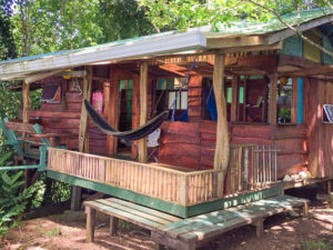 The front view of the silverback cabin at Up in the Hill Eco Lodge in Bocas del Toro