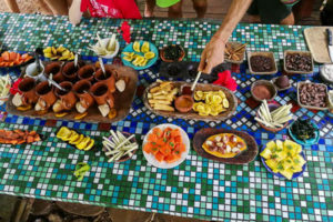 A beautiful coffee shop spread at Up in the Hill on Isla Bastimentos.