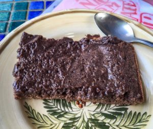 The chocolate brownie from Up in the Hill Coffee Shop on Isla Bastimentos
