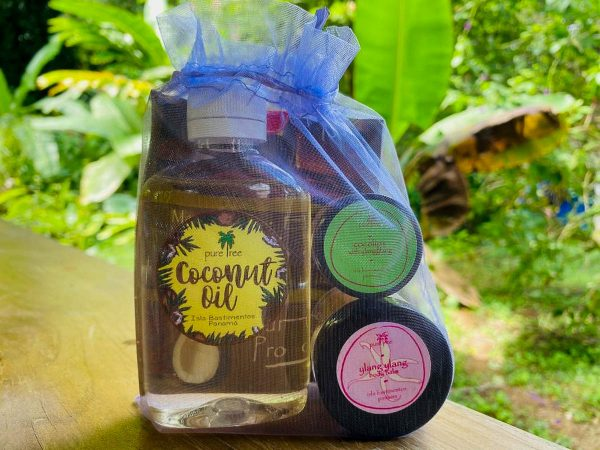 A gift basket from pure tree natural body products by Up in the Hill Chocolate farm and Eco Lodge in Bocas del Toro, Panama.
