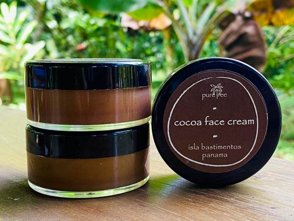 Cocoa face cream from pure tree natural body products by Up in the Hill Chocolate farm and Eco Lodge in Bocas del Toro, Panama.
