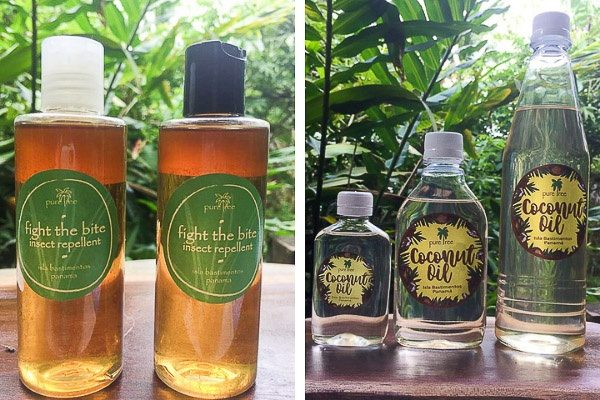 Pure Tree Body Products coconut oil and bug repellant.