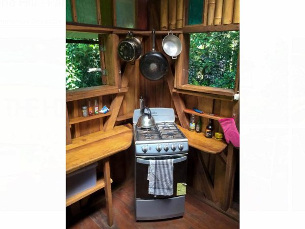 The kitchen stove of the Pantai Cabin at Up in the Hill Eco Lodge.