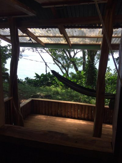 Another view of the ocean from the deck of the Pantai Jungle cabin at Up in the hill Eco Lodge.