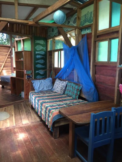 The living room of the up in the hill eco lodge on Isla Bastimentos.