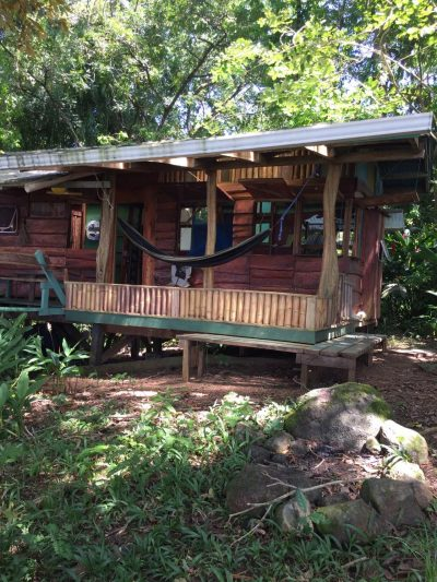 View of a handcrafted eco lodge in bocas del toro panama at up in the hill.