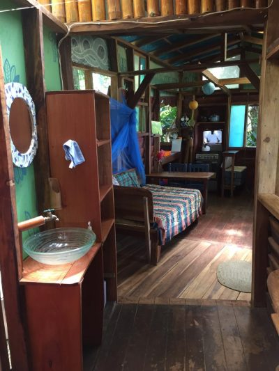 the inside bathroom of the pantai cabin at up in the hill eco lodge.