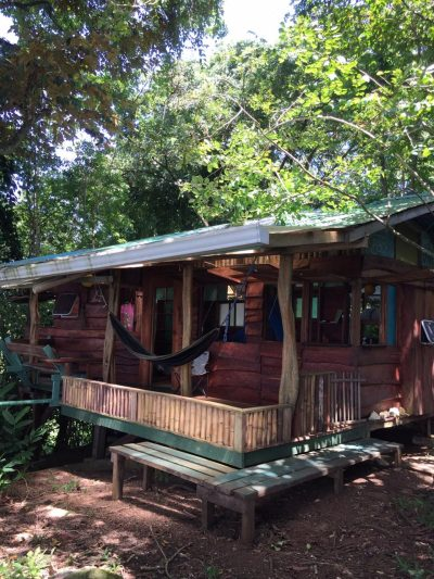 View of the outside of the Silverback Cabin at up in the Hill Eco Lodge in Bocas del Toro